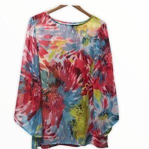 Susan Graver Floral Bell Sleeve Sheer Blouse Med